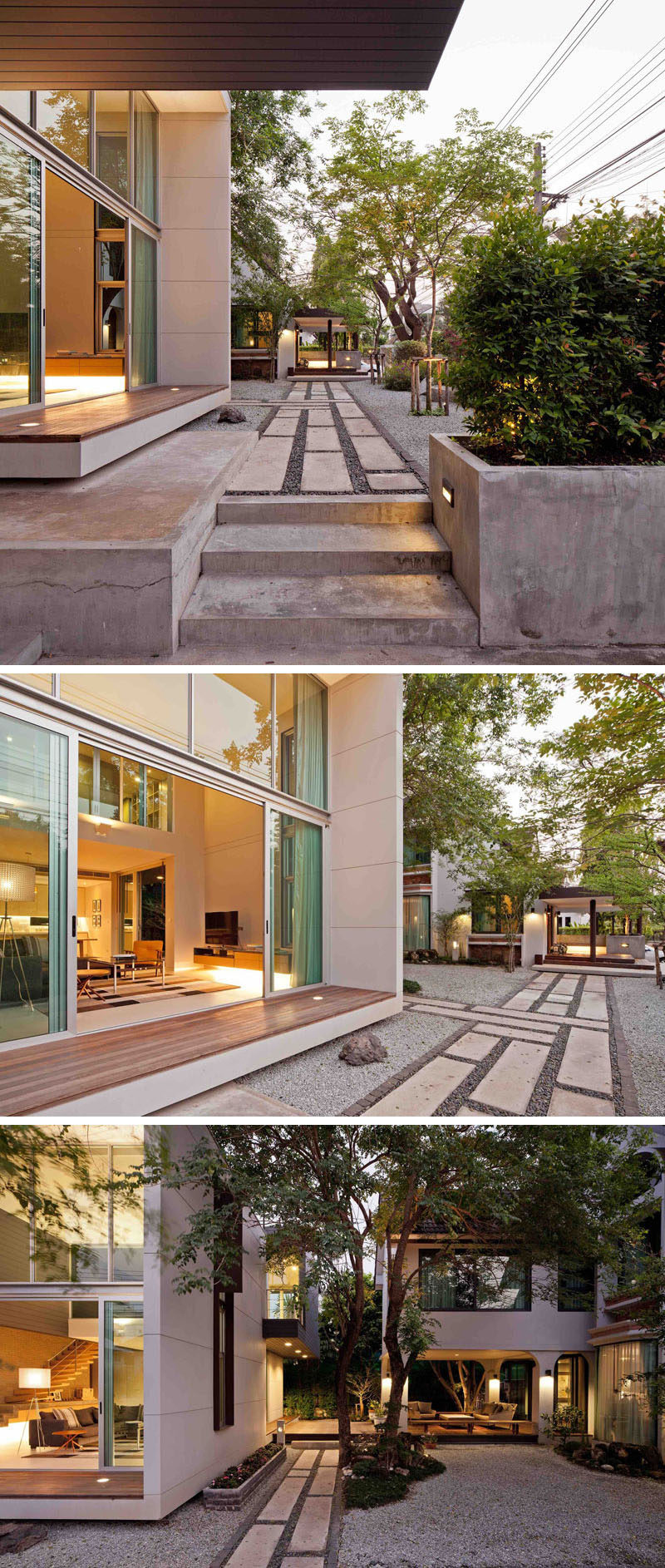 This modern house in Thailand has landscaped paths connecting different areas of the home.