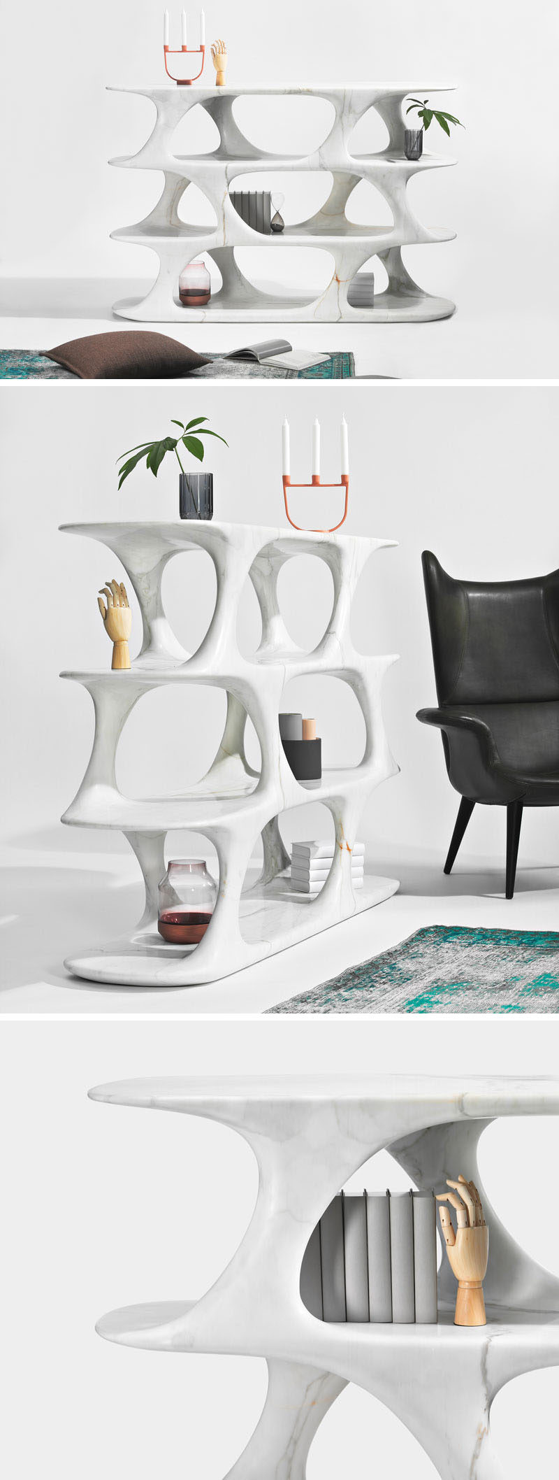 Austrian designer Rainer Mutsch has created a collection of contemporary furniture made entirely out of marble, that includes a sculptural bookshelf.