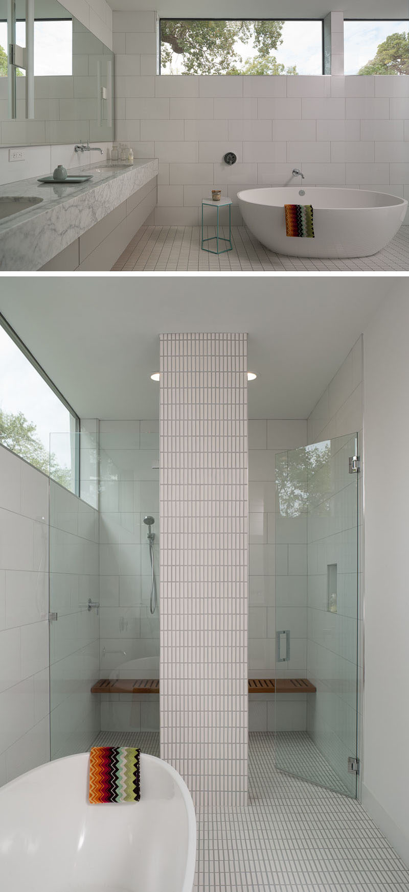 This modern master bathroom has large white tiles that cover the walls, while a standalone bathtub sits between the double-sink vanity and the large walk-in shower with glass surround.