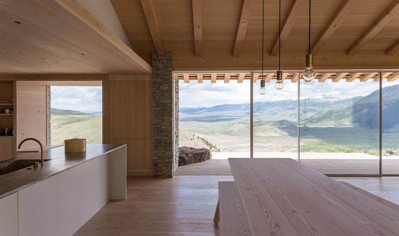 This modern home has a light wood Scandinavian inspired interior.