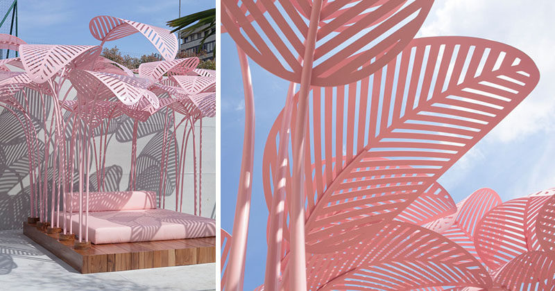 Designer Marc Ange has recently launched 'Le Refuge', an modern tropical inspired outdoor daybed, that's made with a wooden base and metal palm fronds