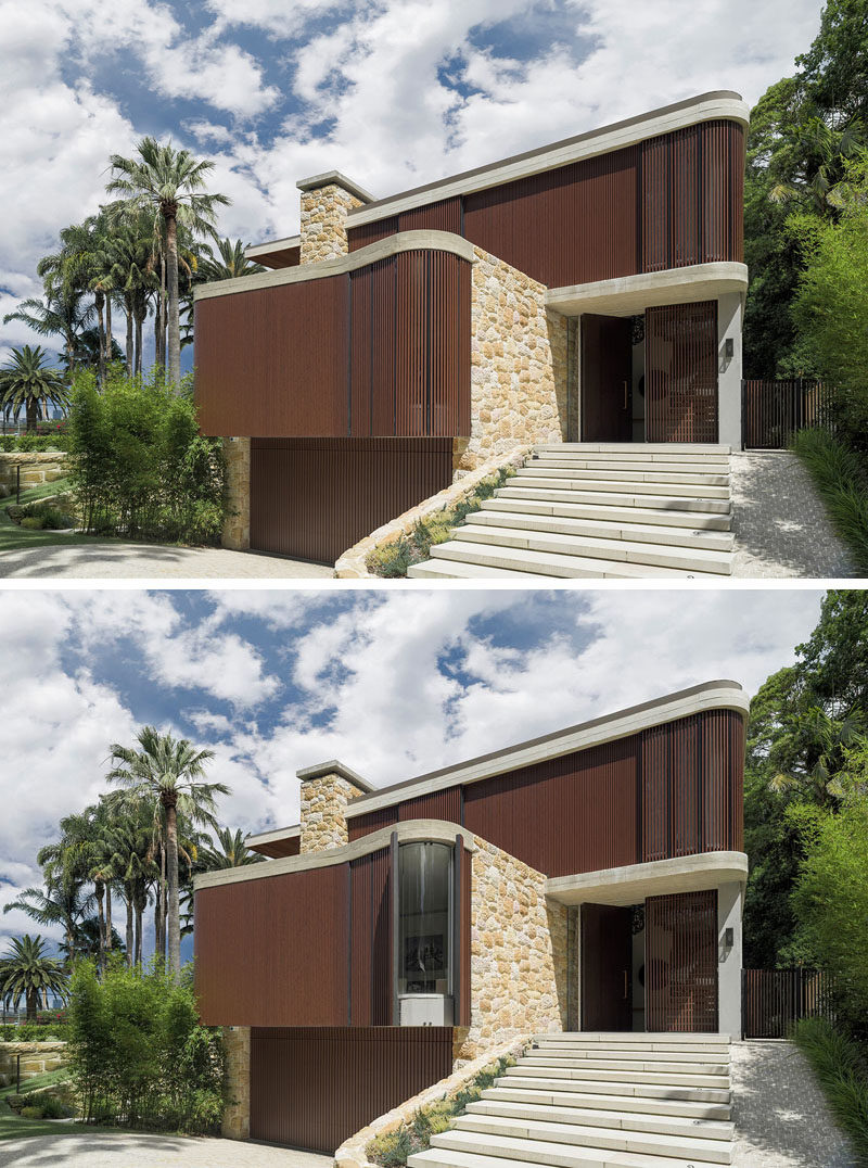 Adjustable timber screens can be opened to allow light into this modern wood and sandstone house, while the entry steps are on a slight incline. Beside the steps is a ramp to make it easy for children's strollers and garbage bins to be moved from the house to the street and back.