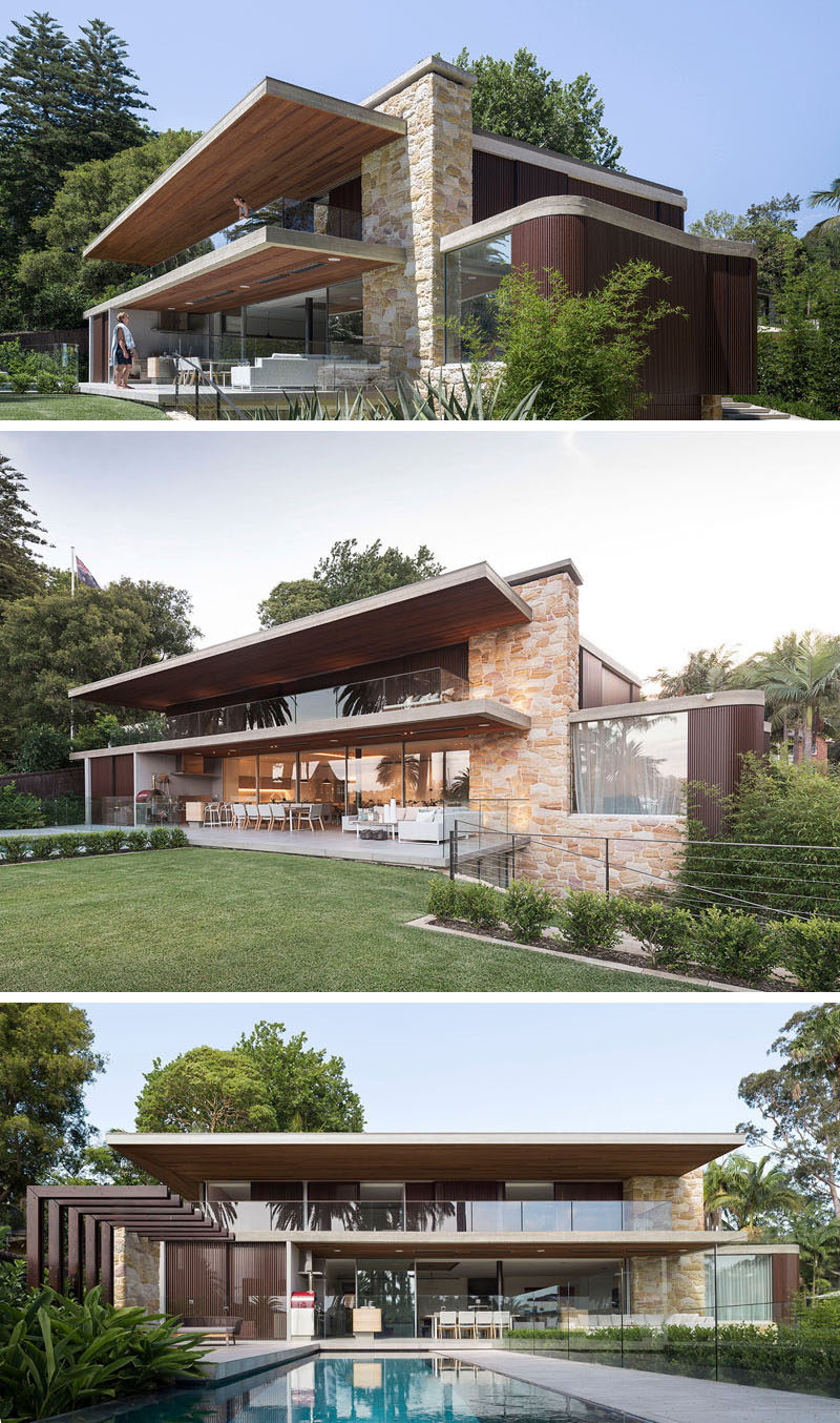 This modern wood and sandstone house opens up to a large backyard with plenty of space for outdoor entertaining. Elements like a spa and swimming pool, outdoor shower, pizza oven and barbeque, have all been included to create an indoor/outdoor living environment.