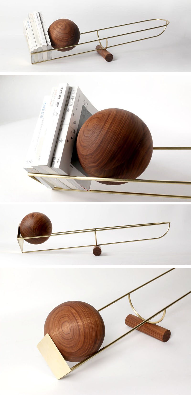 This simple and unique bookshelf is designed like a see-saw, with a wooden ball that rolls depending on where the weight on the shelf is.
