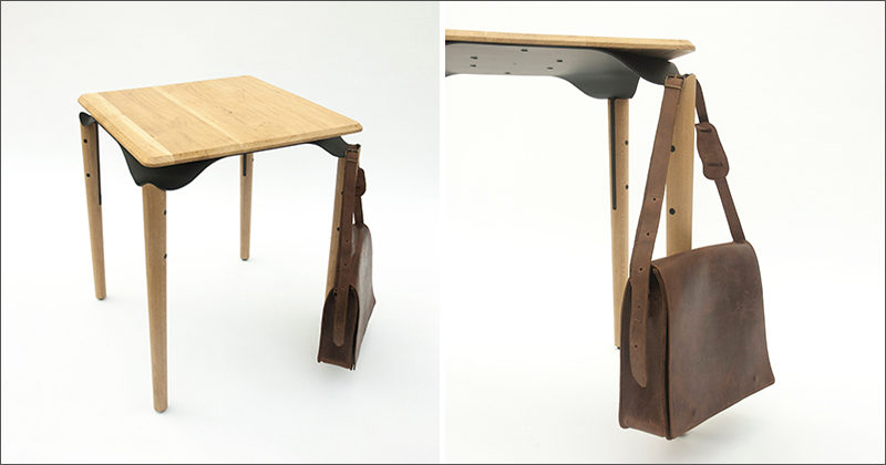 This Bistro Table Was Designed With Dedicated Spaces To Hang Your Bag
