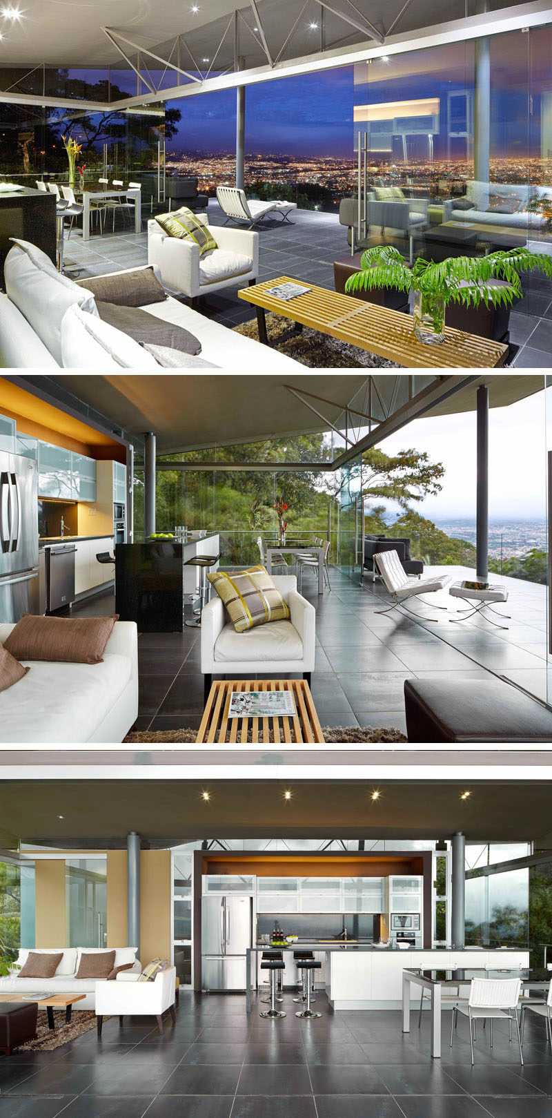 Stepping inside this entertaining space, there's a living room, dining area and a kitchen. On three sides of the room are floor-to-ceiling windows, allowing guests to immerse themselves within the scenery.