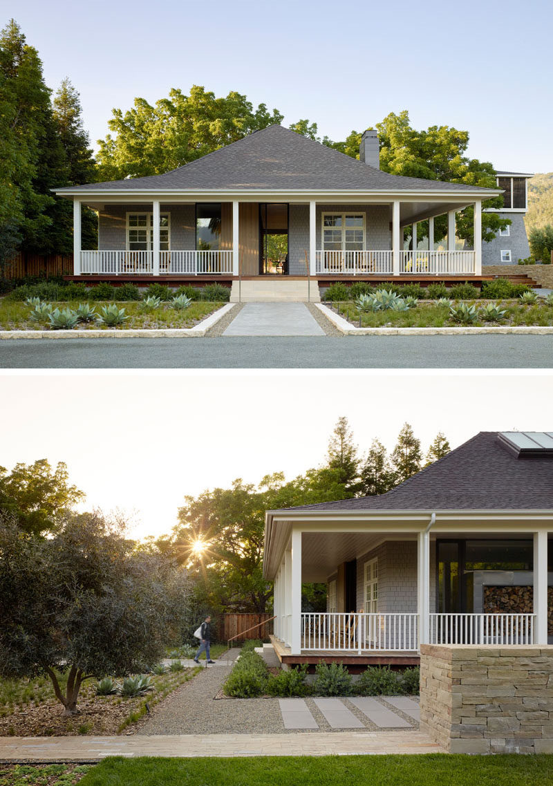 A dated and dark farmhouse was turned it into a bright and airy modern home with light grey wood shingles and minimized columns.