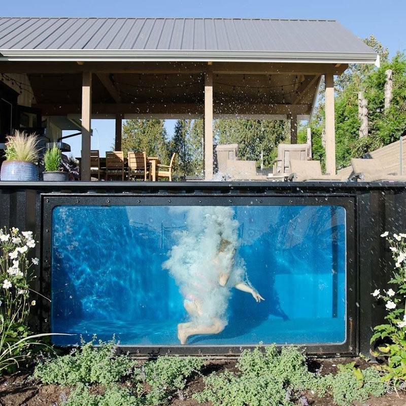 Modpools have transformed shipping containers into modern swimming pools with a window. Each pool can be set up in minutes, be made into a hot tub and can be controlled via your smartphone, where you can change the temperature, jets and lighting.