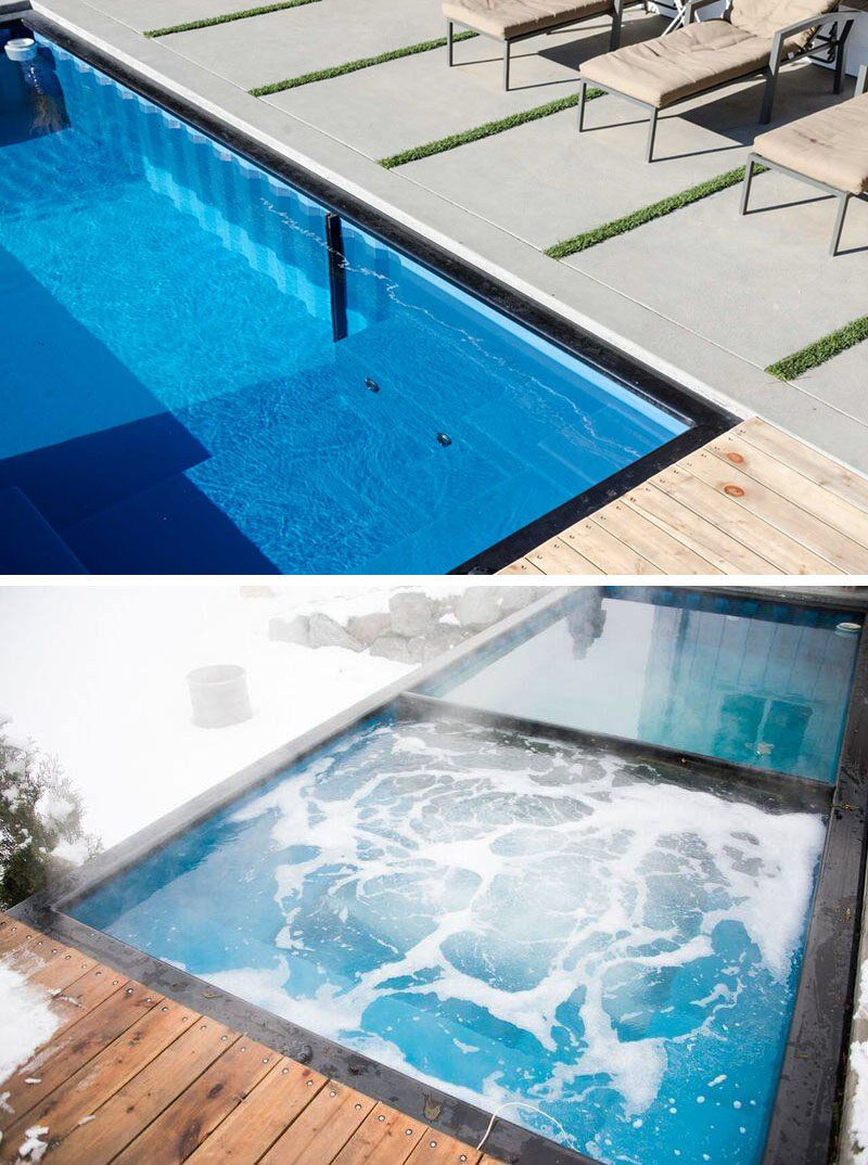 a swimming pool made from a shipping container this house has one contemporist. Black Bedroom Furniture Sets. Home Design Ideas