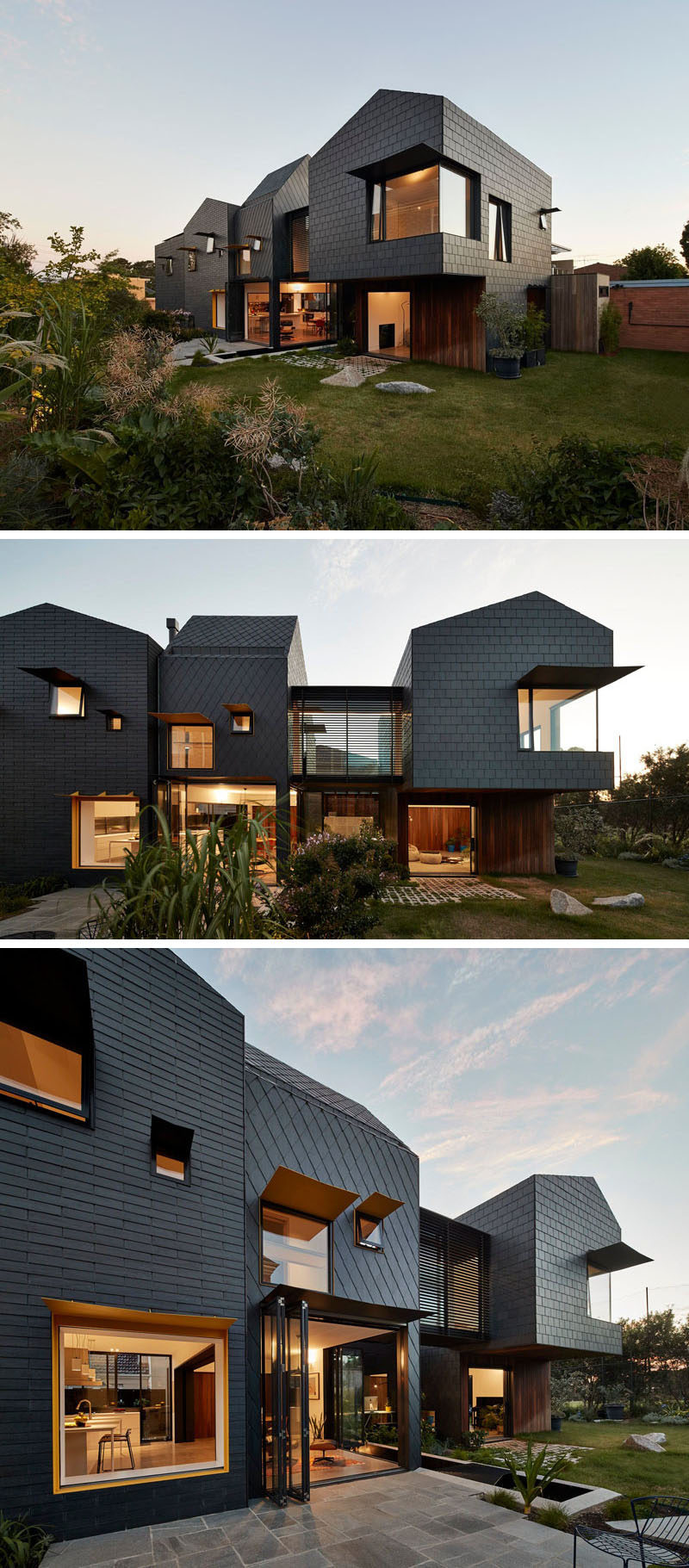 Dark grey slate covers this modern home and from this angle, you can see how the patterns of the tile installation change depending on the section of the house.