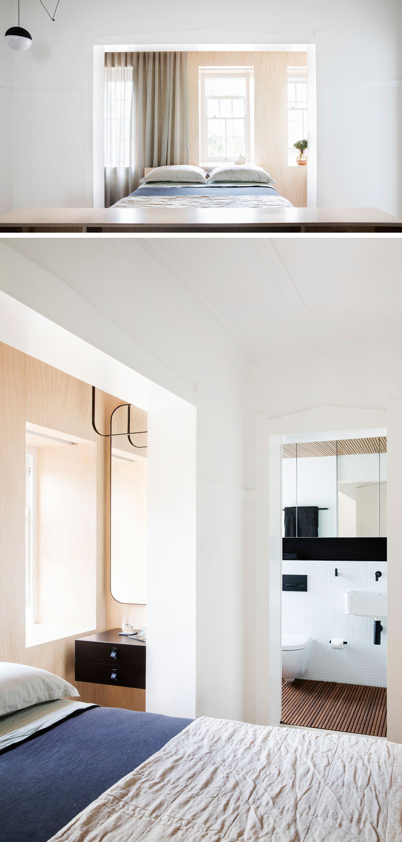 As this modern apartment has original Art Deco touches, some walls were left white and untouched, while others are made from a lime-washed plywood that adds a touch of warmth to the space.
