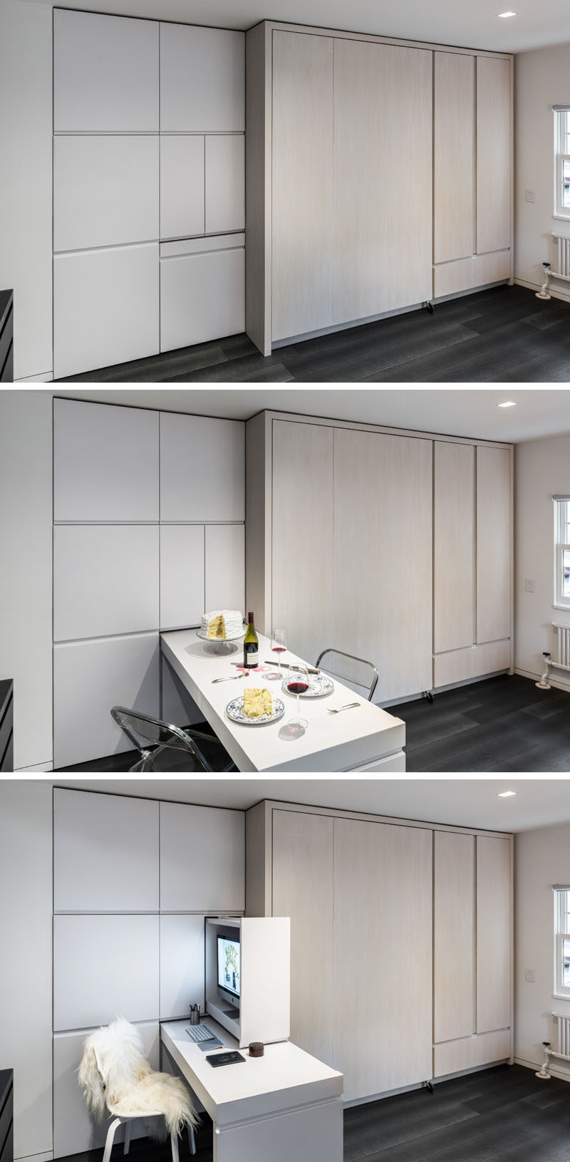 This micro apartment has wall of cabinets. There's a pull-out dining table, that also doubles as a desk. Just above the pull-out table there are two cabinets, one is home to a small pantry, and the one next to it is home to a computer.