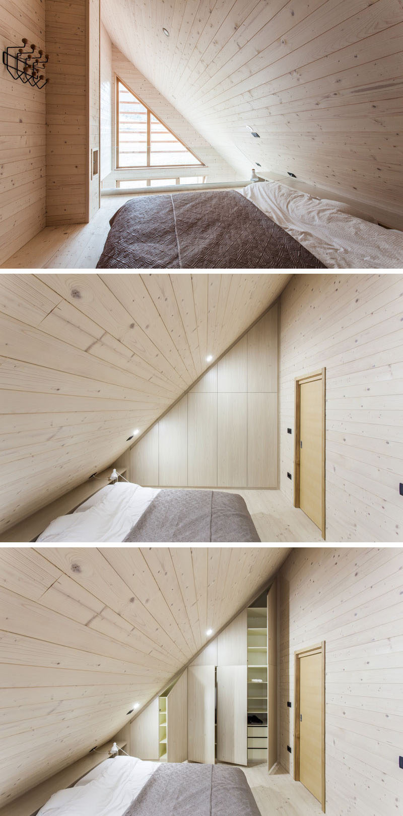Thismaster bedroom has a sloped ceiling, matching the line of the house, while on one side of the bed there's a glass railing that overlooks the living room, and on the other side of the bed, there's a wall of built-in storage.