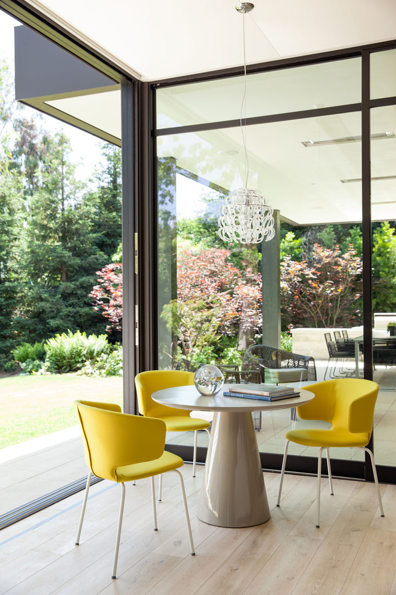 This small table with yellow chairs is the perfect spot for taking a break.