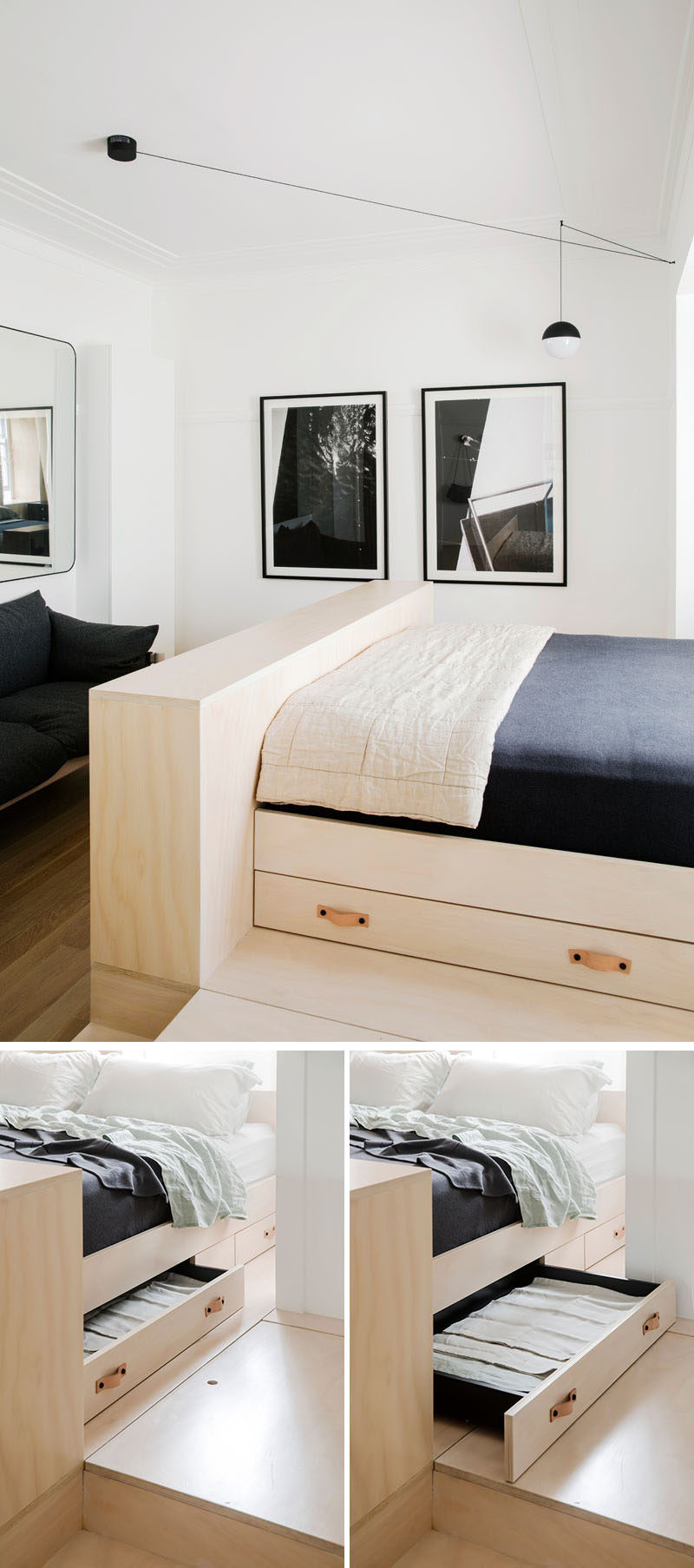 Under this modern bed platform, there are multiple pull-out drawers for housing additional bedding and pillows.