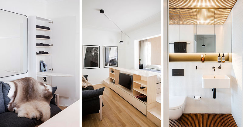 this small apartment is filled with creative storage solutions