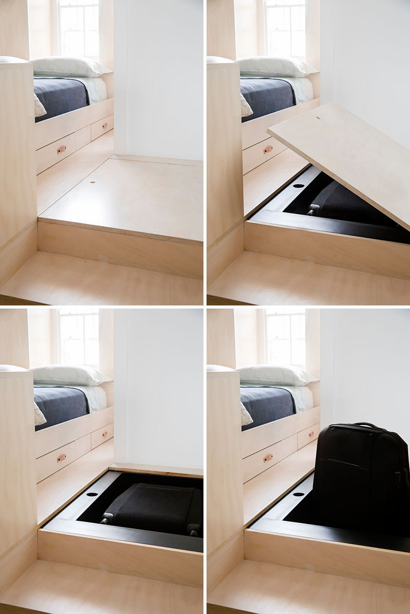 In this modern bed platform, there's hidden storage in the steps, perfect for a small suitcase.