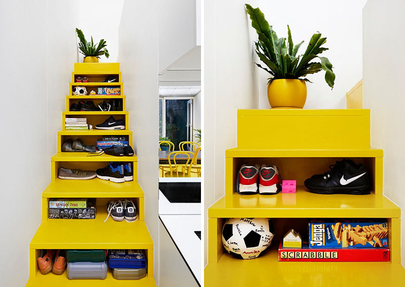 These bright yellow stairs with storage have been designed with open fronts instead of drawers, so you can easily see what is being stored.