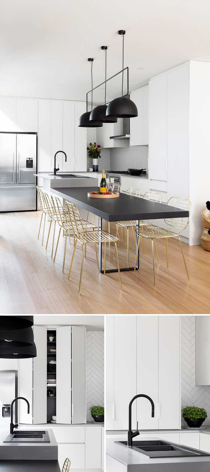 This modern kitchen update received touches of black and for Modern kitchen table lighting