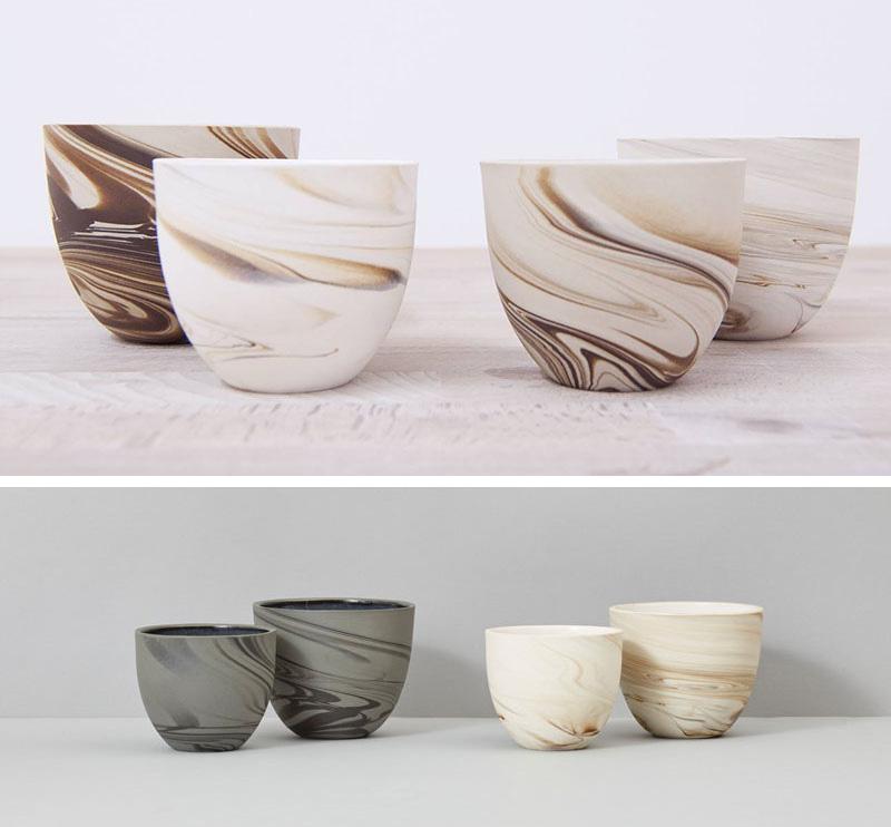 These modern ceramic espresso mugs have a matte swirl pattern.