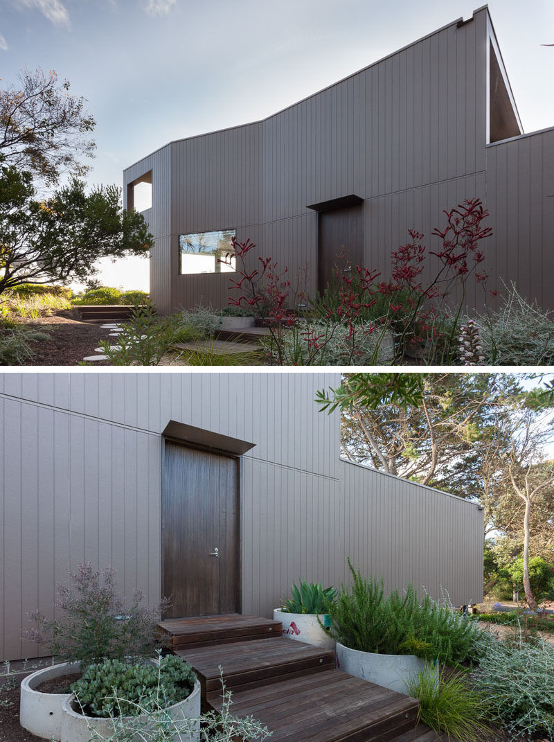 The entry to this modern house is subtle and organic, with the wood door being framed by cement pipe planters. The exterior of the home is covered in brown Australian hardwood architectural panels.
