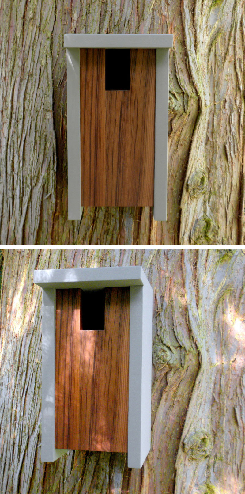 This grey, dark wood birdhouse is inspired by craftsman architecture.