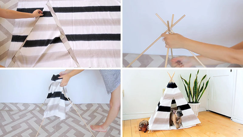 Here's a fun and inexpensive DIY Dog Tent that won't look out of place in your modern interior. Using very few materials like wood dowels and canvas, you can create your own modern dog bed (or cat bed) for your furry friend. #DogTent #HomeDecor #PetFurniture