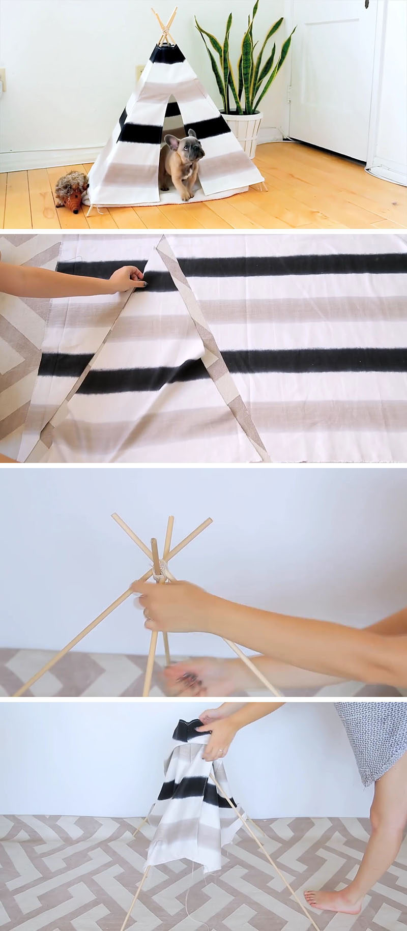 Here's a fun and inexpensive DIY Dog Tent that won't look out of place in your modern interior. Using very few materials like wood dowels and canvas, you can create your own modern dog bed (or cat bed) for your furry friend.