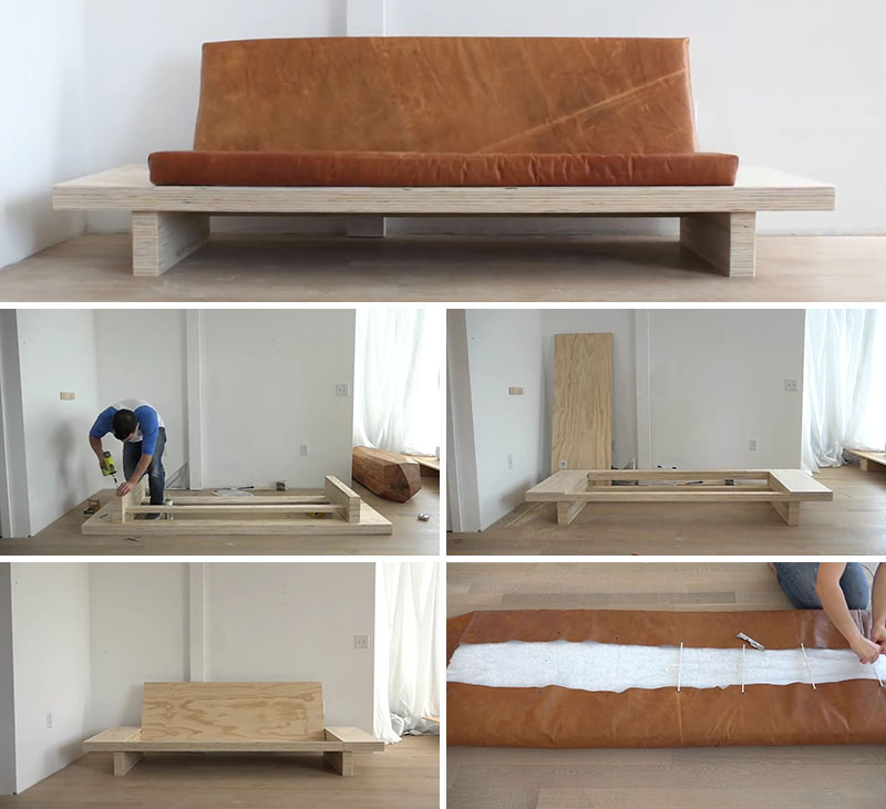 In this DIY tutorial you can learn how to build your own modern plywood couch with built-in side tables and an upholstered leather seat cushion. The instructions are detailed and comprehensive, with the finished product being a functional and easy to move modern sofa.