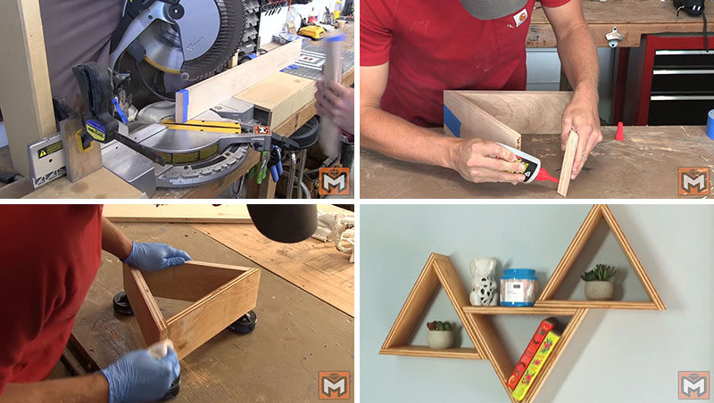 This DIY tutorial shows you, in detail, how to create a simple triangle wood shelf using a super strong adhesive. The instructions are thorough, and the finished product is modern, functional, and perfect for any empty wall.