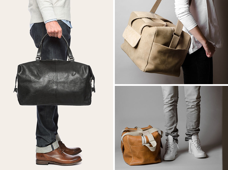 These modern leather and canvas duffel bags are perfect for a weekend get away.