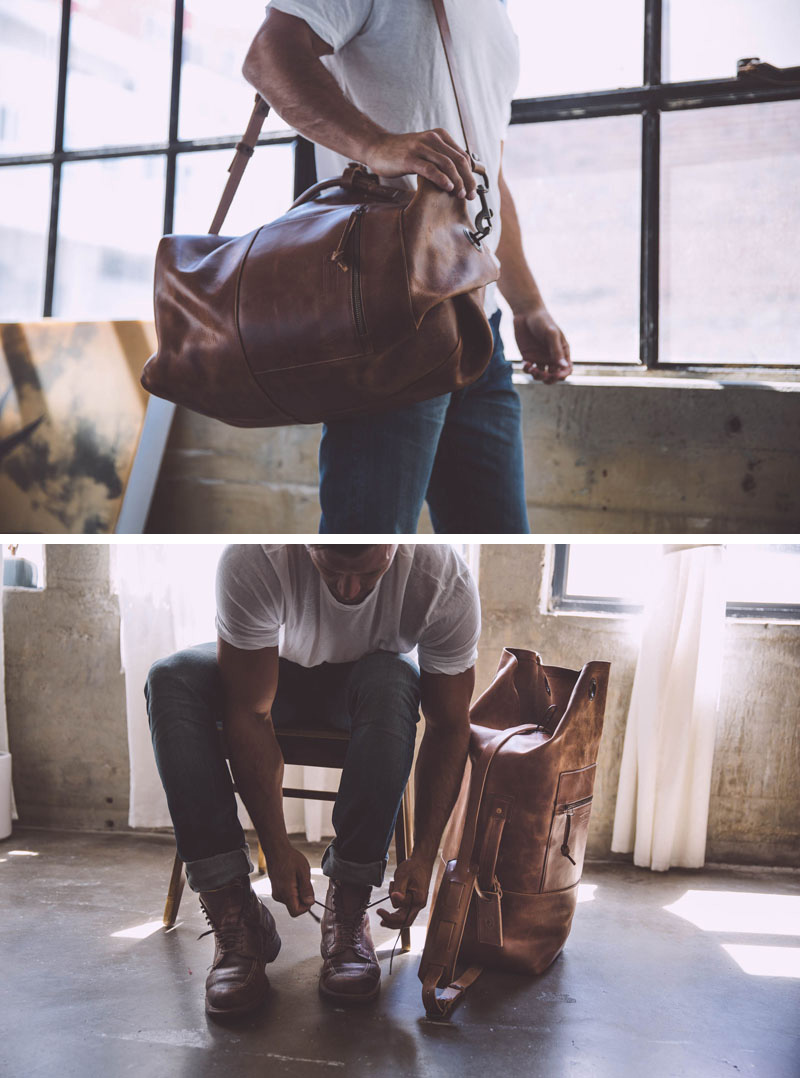 A modern spin on the old school military bags, this brown leather duffel bag will keep your things safe and keep your style on trend.