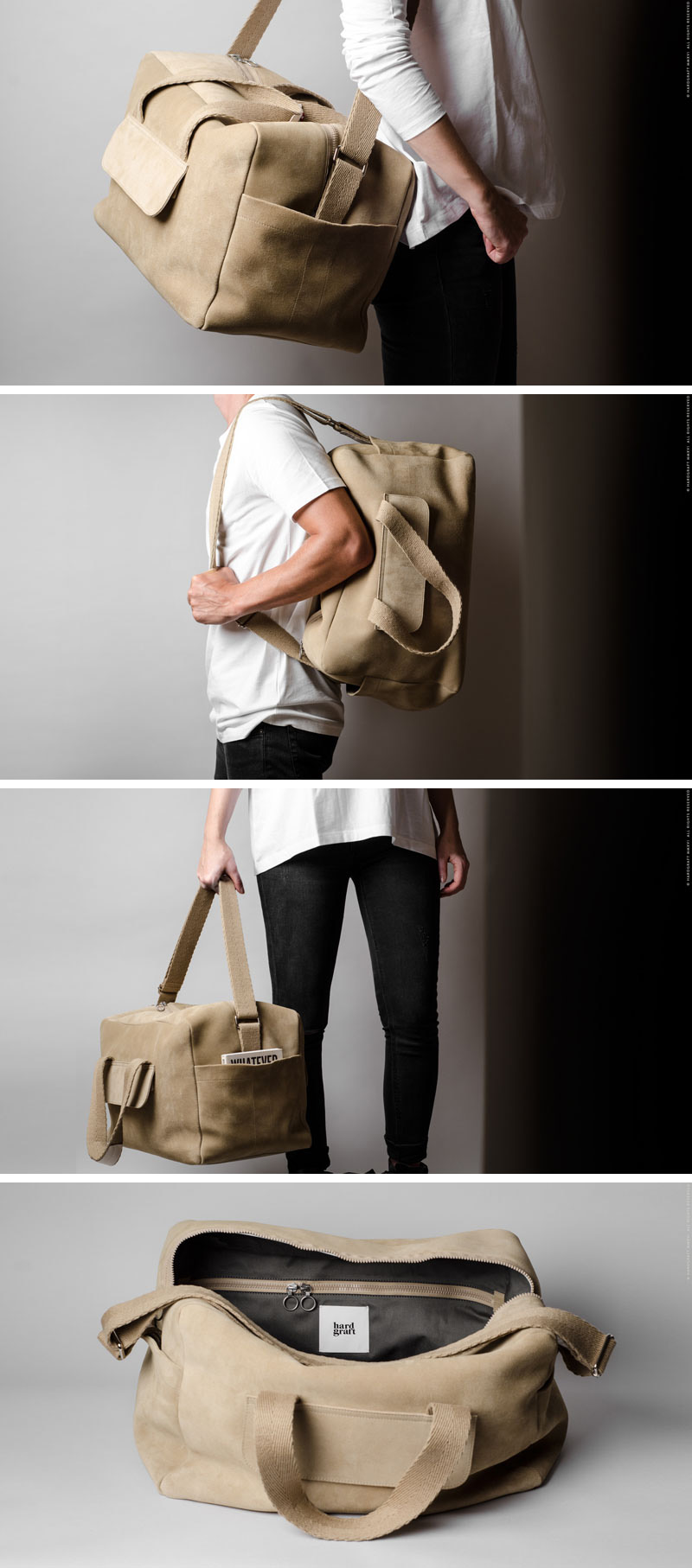 This modern, sturdy light colored suede duffel bag has lots of storage to make sure nothing has to be left behind.