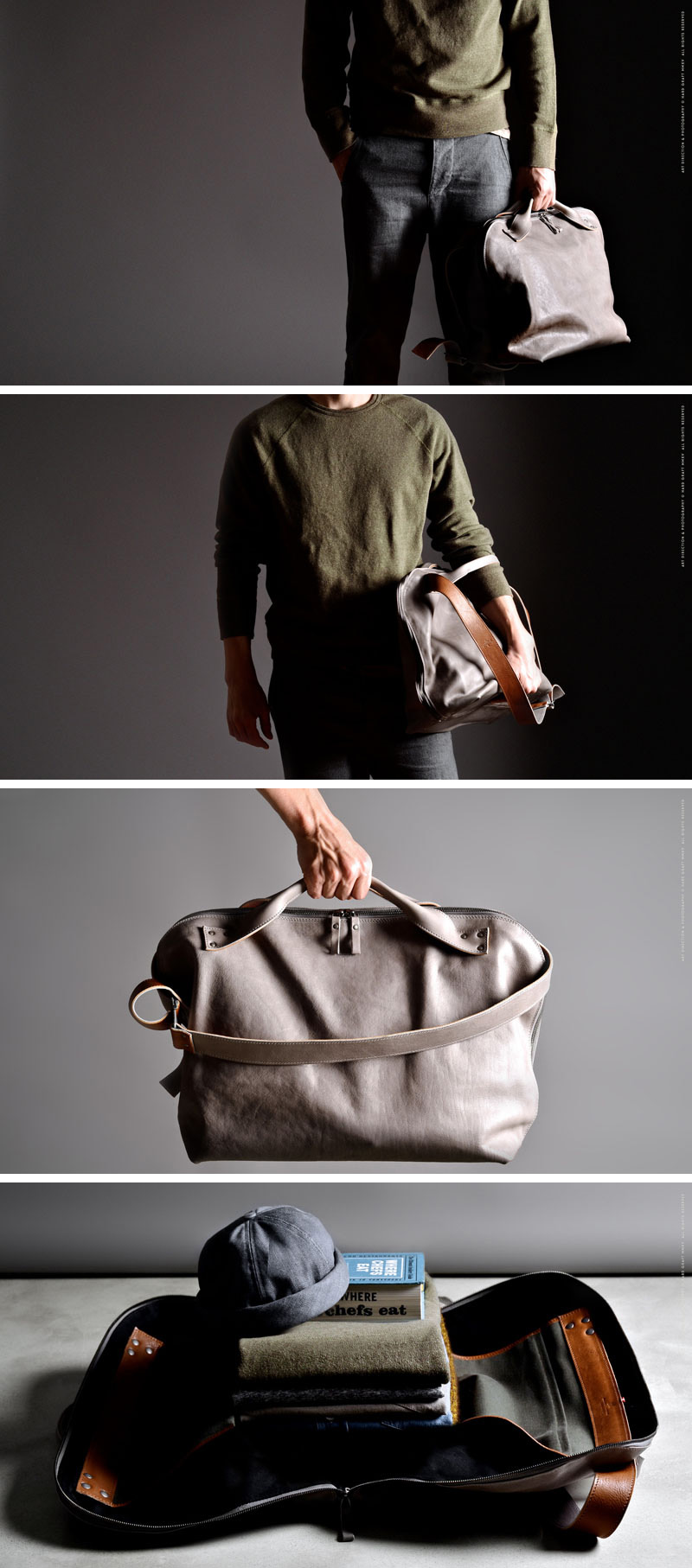 Whether you throw it over your shoulder or carry it by the handles this light grey, modern leather weekend bag will have you looking super stylish.