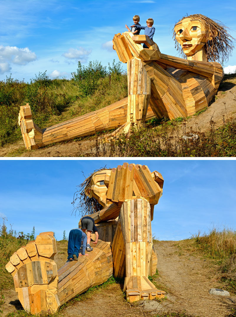 Hidden in the forest on the outskirts of Copenhagen, Denmark, are six large recycled wood giants by artist Thomas Dambo, that can be found via a treasure map.