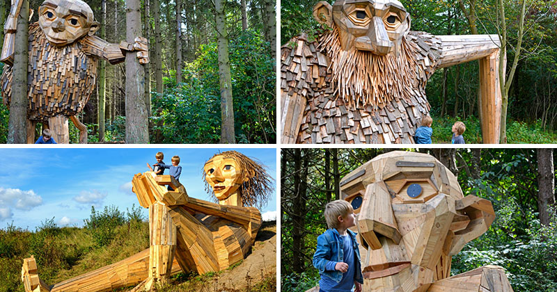 Six Large Wood Giants Are Now Hiding Out In A Forest Near Copenhagen