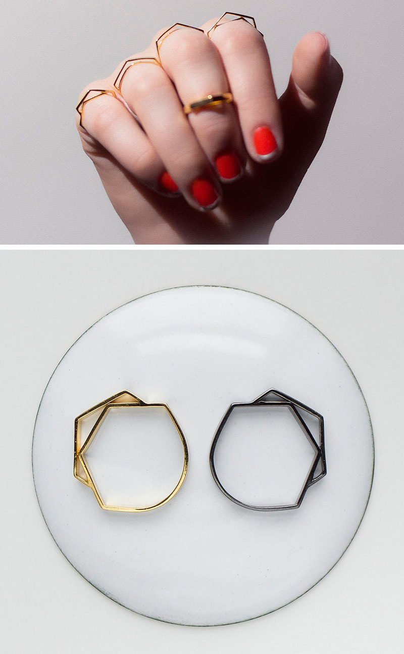 Delicate and geometric, these rings can be worn on the same hand at the same time, or stacked for a unique arrangement. #ModernJewelry #Fashion #Style