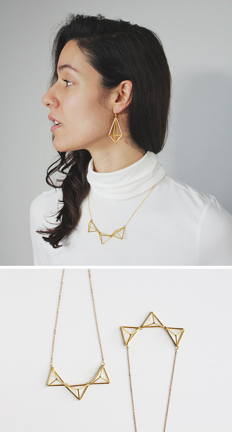 Traditional himmelis inspired this geometric necklace that looks great paired with other himmeli-inspired jewelry or on it's own. #ModernJewelry #Fashion #Style