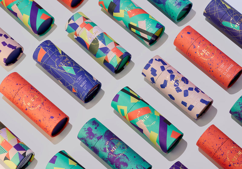 iwantdesign has created the branding, packaging and marketing for Niche Tea, that features modern and vibrant patterns of a limited color palette that reflect the blend of teas.