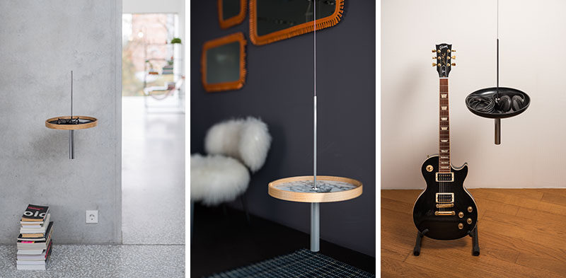 A Suspended Side Table Creates A Dramatic Effect