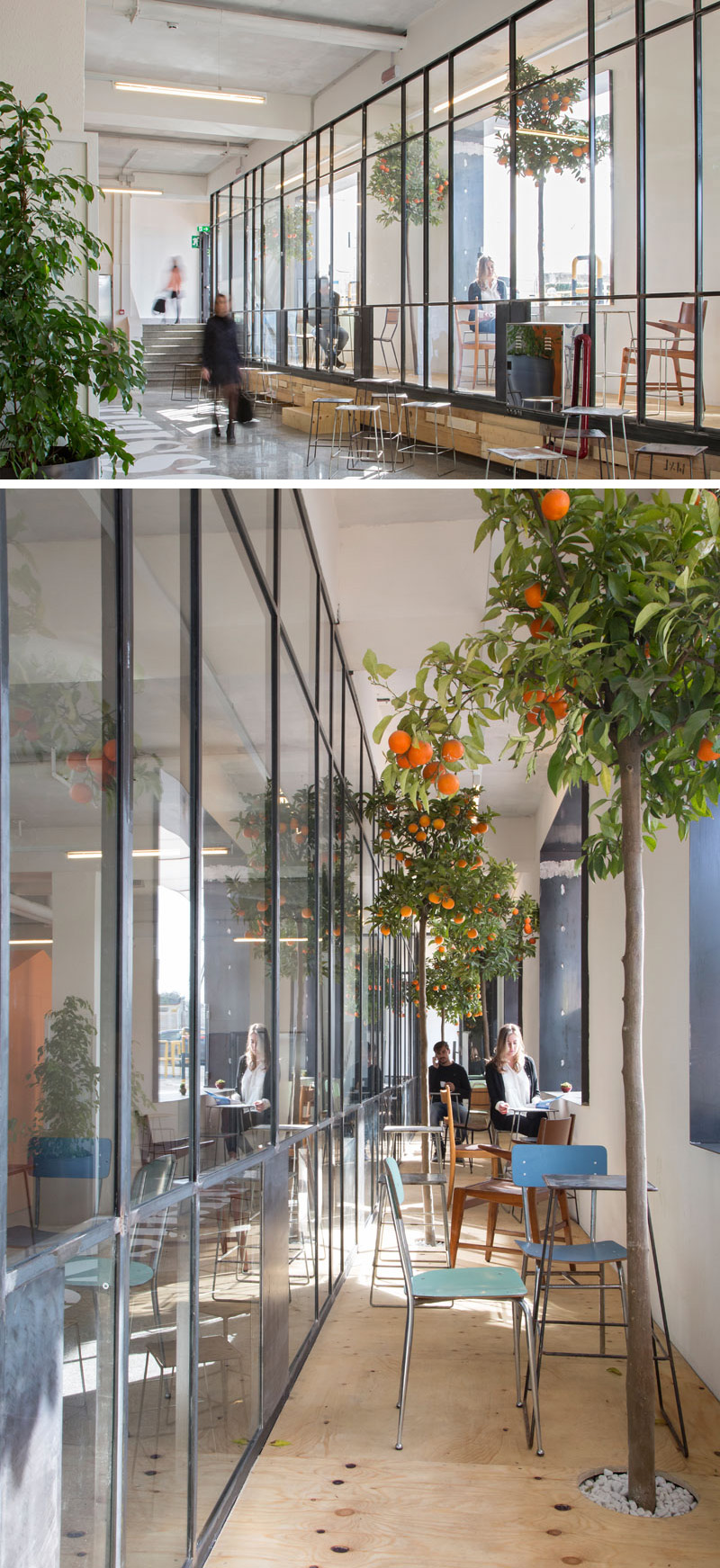 This short stay hotel in Naples, Italy, has an elevated platform at the front of the hotel provides guests with a bright spot to sit with their laptops, books, or snacks, and has large windows that help brighten up the space.