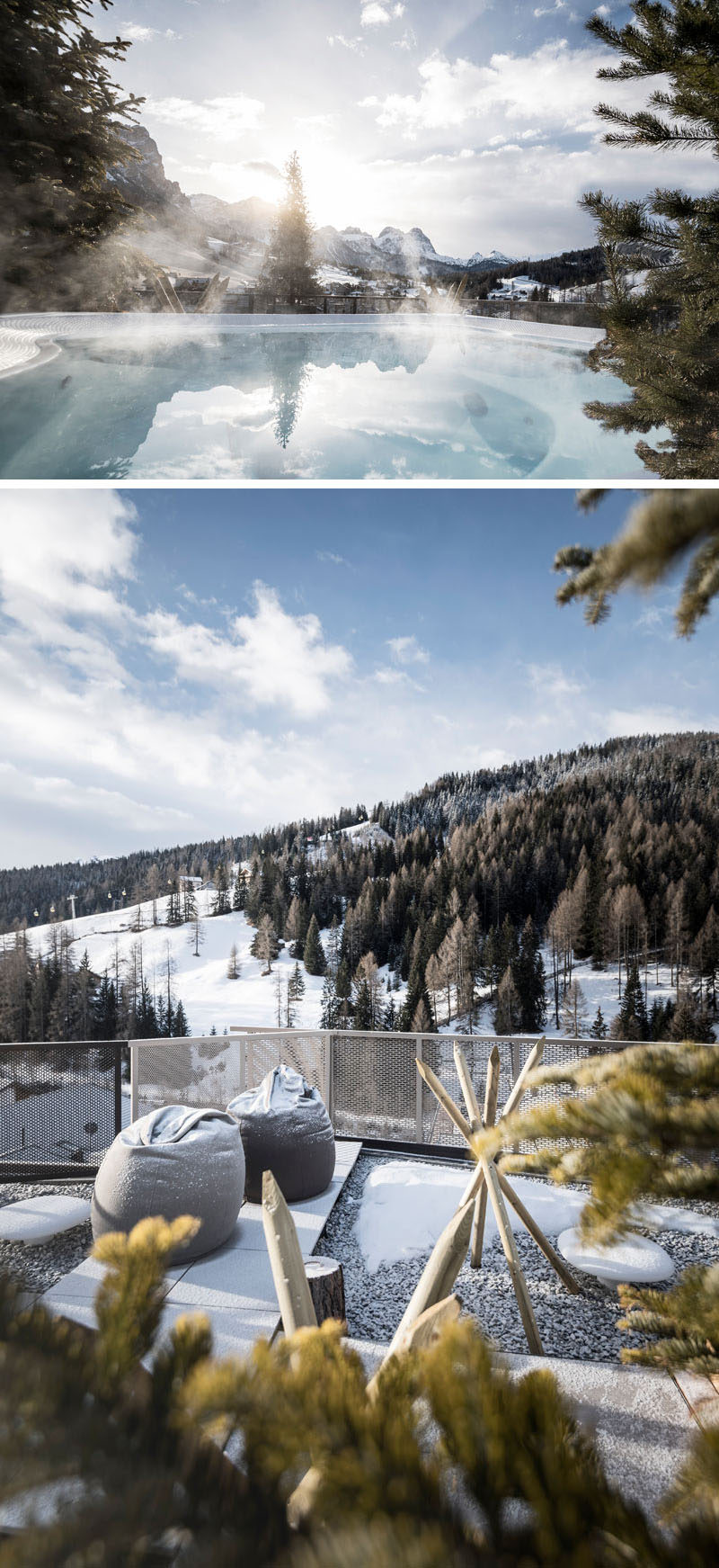 This modern hotel in Italy has a hot tub surrounded with small pine trees, creating the effect of being on the mountain top while still in the pool.