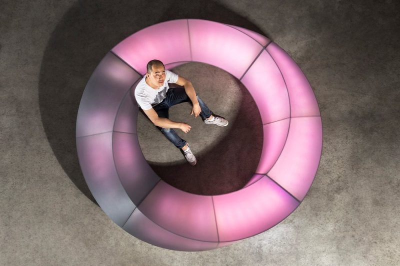The Mobius Bench Responds To Touch And Lights Up With