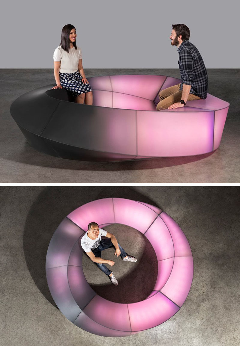 Designer Louis Lim of Makingworks together with 3form have created a modern interactive circular bench named Mobius, that lights up when it's touched.