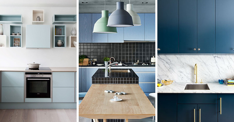 Here are 12 examples of modern blue kitchens all along the blue spectrum that range from blues so light that they're nearly white all the way to blues so dark that they're almost black.