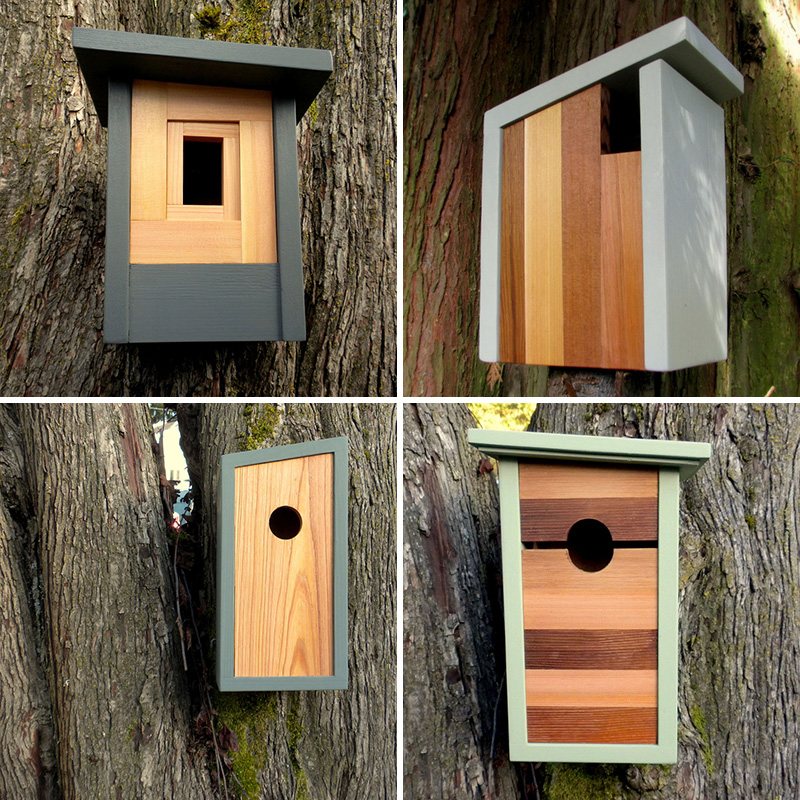 These modern wood birdhouses were inspired by craftsman architecture.