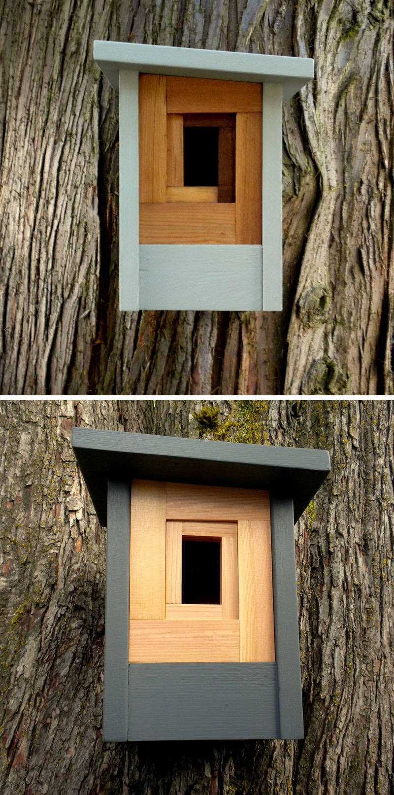 These light blue and grey wood modern birdhouses were inspired by craftsman architecture and a shutter lens.