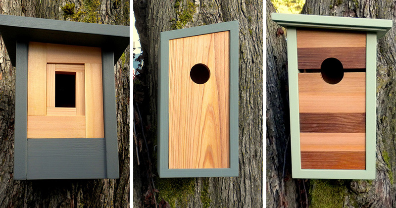 These Modern Wood Birdhouses Are Inspired By Craftsman Architecture