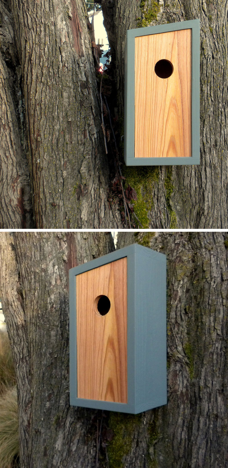This grey and light wood birdhouse has a minimalist design.
