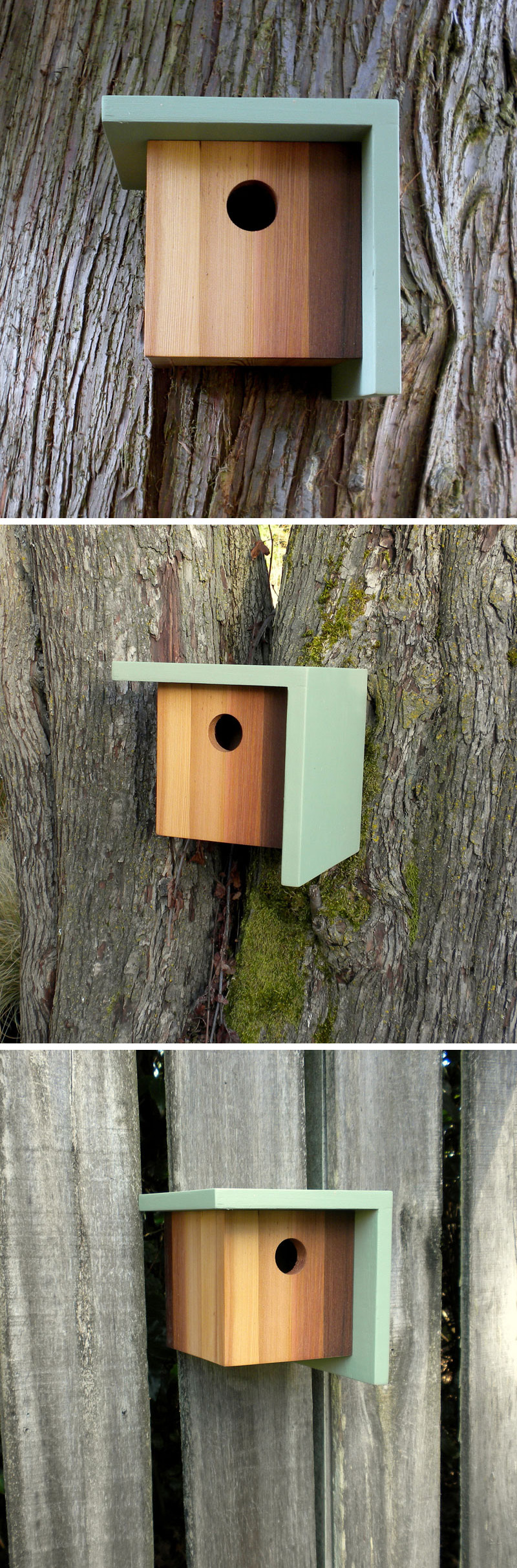 This blue, light and dark wood birdhouse is inspired by craftsman architecture.